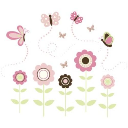 WallPops! Butterfly Flowers Wall Art Kit