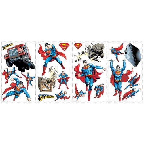 RoomMates 5 in. x 11.5 in. Superman Day of Doom Peel and Stick Wall Decals (21-Piece)