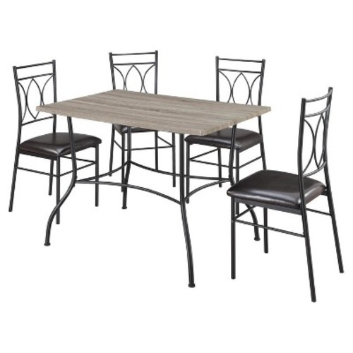 Shelby 5 Piece Rustic Wood & Metal Dining Set - Rustic/Black - Dorel Living