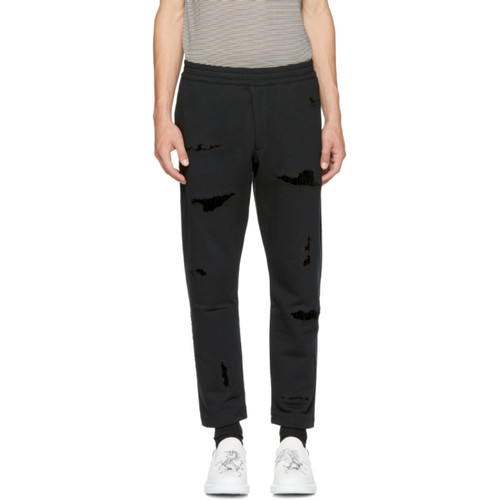 ALEXANDER MCQUEEN Black Shredded Lounge Pants
