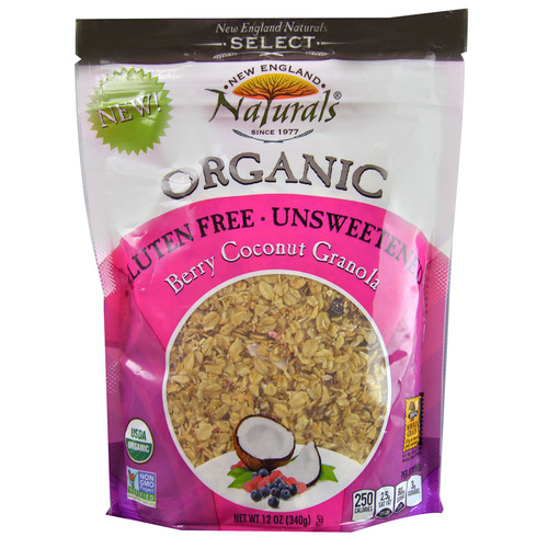 England Naturals Organic Gluten Free Unsweetened Granola Berry Coconut -- 12 oz
