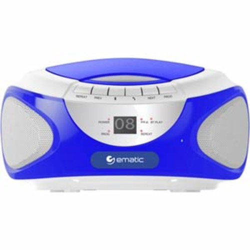 Ematic CD Boombox With Bluetooth audio and Speakerphone - Blue