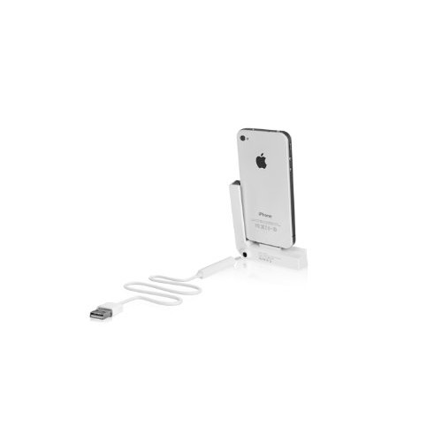 Macally LDOCK Foldable L Shaped Charging Dock for iPhone 4/4S - Retail Packaging - White