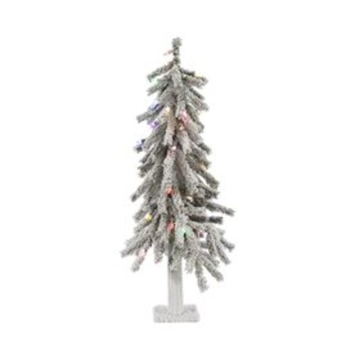 Vickerman 3-ft Pre-lit Alpine Slim Flocked Artificial Christmas Tree with 50 Constant Multicolor LED Lights