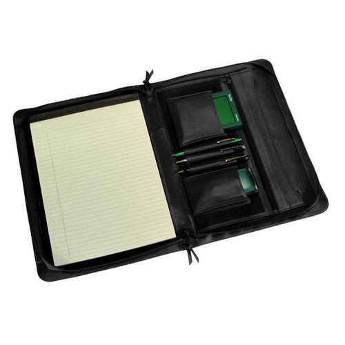 Royce Madison Top-grain Leather Zip-around Writing Pad Holder [option : Black]