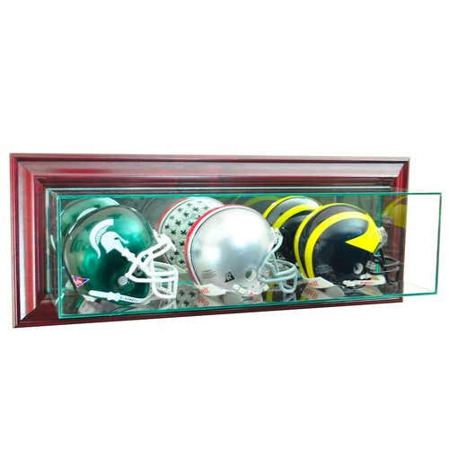 Perfect Cases Wall-Mounted Triple Mini Football Display Case, Cherry Finish