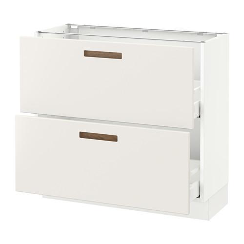 SEKTION Base cabinet with 2 drawers, brown Maximera, Grimslv medium brown