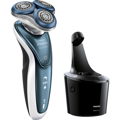 Philips Norelco - 7300 Clean & Charge Wet/Dry Electric Shaver - White/Blue