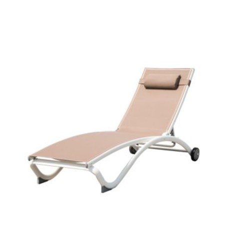 Vivere Pool All-Weather Lounger in Brown/White
