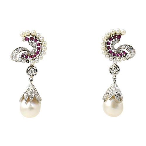 1950s Diamond, Ruby & Pearl Earrings
