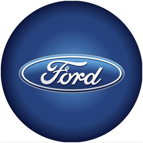 Ford Chrome Ribbed Bar Stool - Ford Oval Logo