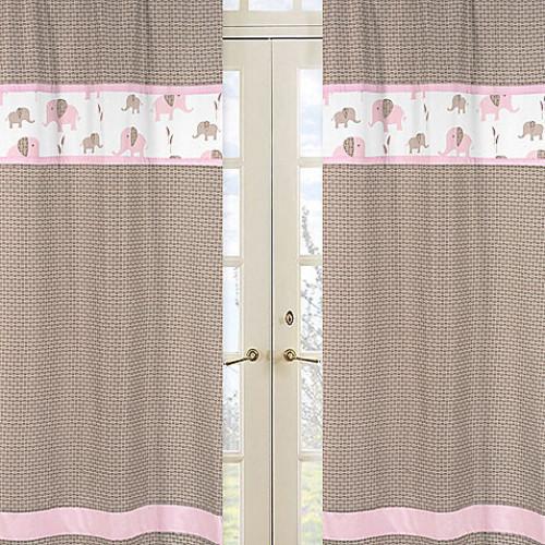 Sweet Jojo Designs Mod Elephant Window Panel Pair in Geo Print in Pink/Taupe