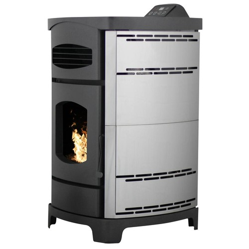 Ashley Hearth Products 2,200 sq. ft. EPA Certified Pellet Stove with 40 lb. Hopper and Remote Control in Polished Stainless Steel Sides