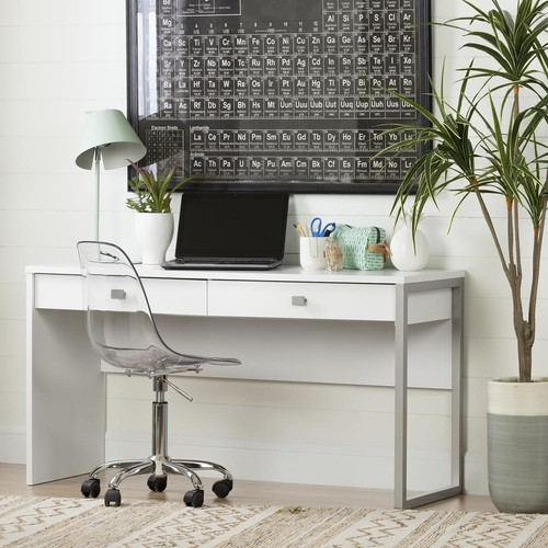 South Shore Interface Pure White Desk with 2 Drawers