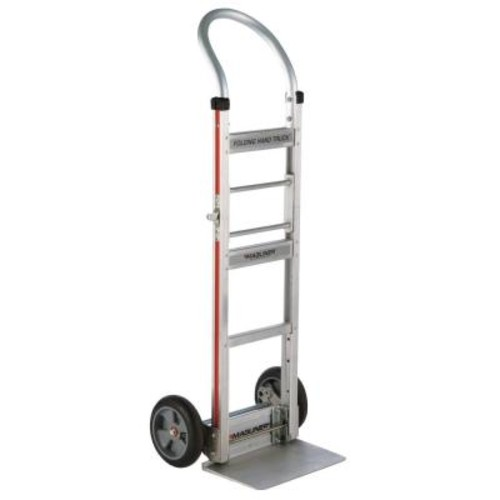 Magliner 500 lb. Capacity Aluminum Folding Hand Truck with Horizontal Loop Handle Vinyl Sleeve and 8 in. Balloon Cushion Wheels