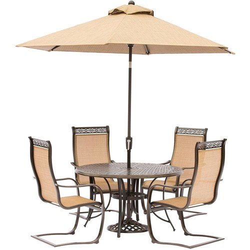 Hanover Manor 5-Piece Aluminum Round Outdoor Dining Set with Spring Sling Chairs, Cast-Top Table, Umbrella and Umbrella Stand