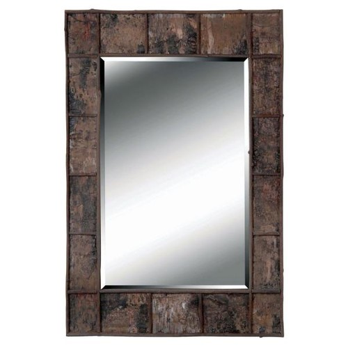 Manor Brook Dexter Bark 38 in. x 28 in. Natural Bark Rectangle Framed Wall Mirror