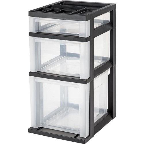 IRIS 12.08 in. x 24 in. Black Medium 3-Drawer Cart with Organizer Top (2-Pack)