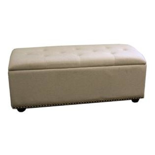 Ore International HB4493 18-in Beige Storage Bench with Extra