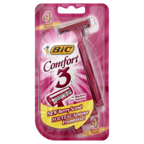 BIC Comfort 3 Shavers, for Women, Sensitive Skin, Berry Scent, 4 shavers