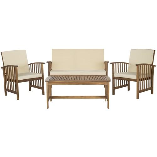 Rocklin 4-Piece Outdoor Set in Brown design by Safavieh