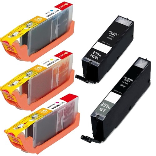Canon PGI-250XL Black CLI-251XL Cyan, Yellow, Magenta, Grey High-Yield Ink Cartridges (Pack of 5)