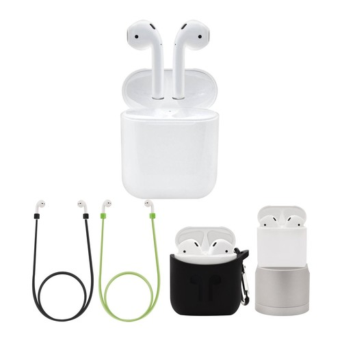 Apple AirPods with Charging Case, Stand, and Accessories