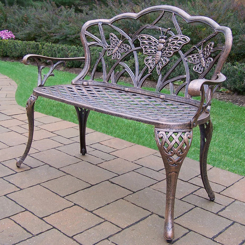 Butterfly Cast Aluminum Outdoor Bench