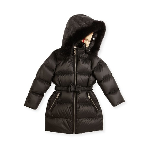 BURBERRY Consillia Hooded Fur-Trim Puffer Jacket, Black, Size 4-14