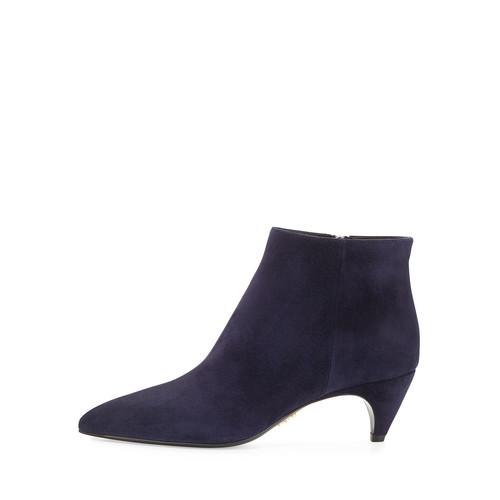 PRADA Pointed-Toe Low-Heel Ankle Boot, Bleu