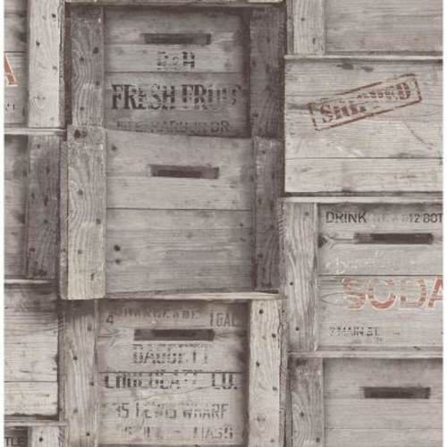 Brewster Grey Wood Crates Distressed Wood Wallpaper