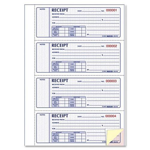 Rediform Hardbound Money Receipt Book - 200 Sheet(s) - 3 Part - Carbonless Copy - 2.75