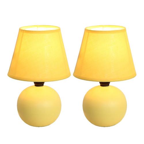 Simple Designs Mini Ceramic Globe Table Lamp 2 Pack Set Yellow