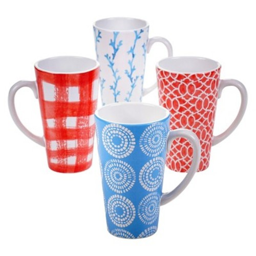 Certified International Beach House Set of 4 Latte Mug 16 oz. Assorted