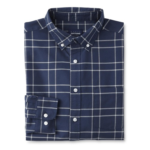 Basic Editions Men's Oxford Dress Shirt - Plaid [Fit : Men's]