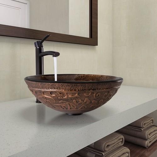 VIGO Golden Greek Glass Vessel Bathroom Sink and Milo Faucet Set in Antique Rubbed Bronze Finish