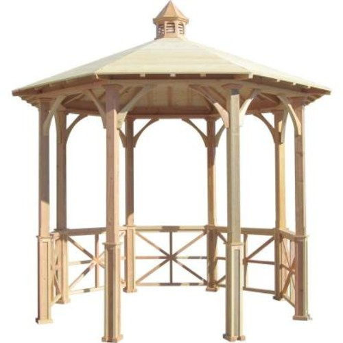 SamsGazebos 10 ft. Octagon English Cottage Garden Gazebo with Cupola - Adjustable for Uneven Patio