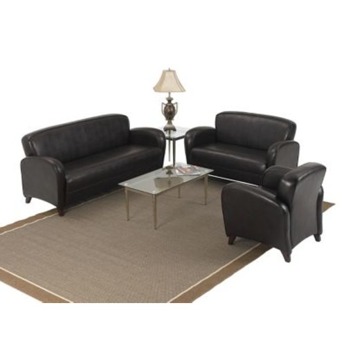 Office Star OSP Designs Leather Sofa With Cherry Finish Legs, Mocha