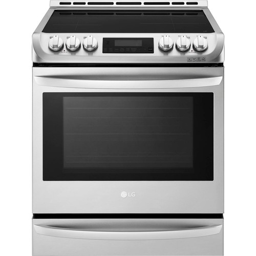LG - 6.3 Cu. Ft. Self-Cleaning Slide-In Electric Induction Convection Range - Stainless steel