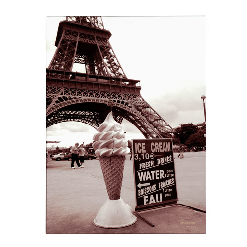 Trademark Global Kathy Yates 'Eiffel Tower with Ice Cream Cone 2' Canvas Art [Overall Dimensions : 16x24]