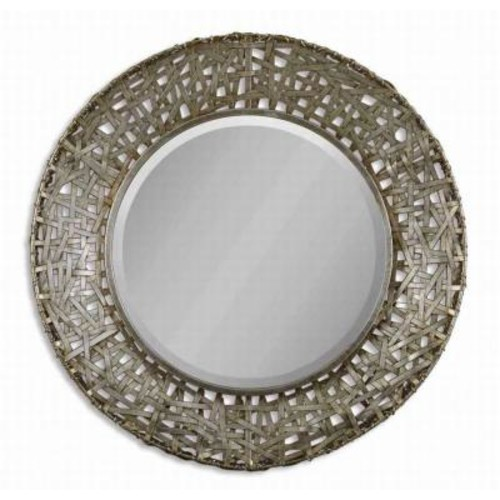 Global Direct 32 in. x 32 in. Champagne Round Framed Mirror