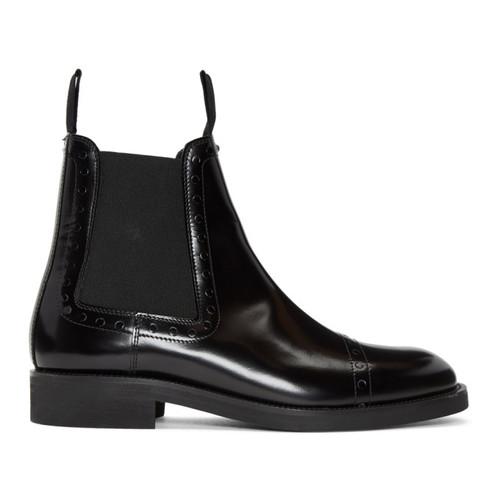 MAISON MARGIELA Black Unfinished Brogueing Chelsea Boots