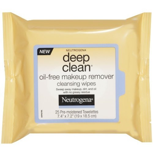 Neutrogena Deep Clean Oil Free Makeup Remover Cleansing Wipes, 25 Count [25 Count]