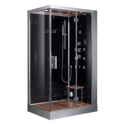 Ariel 47 in. x 35.4 in. x 89.1 in. Steam Shower Enclosure Kit in Black
