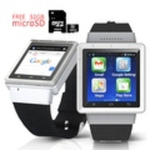 Indigi Android 4.4 (Factory Unlocked) KitKat SmartWatch and Phone w/ WiFi + GPS + Camera w/ 32gb microSD Included - Silver