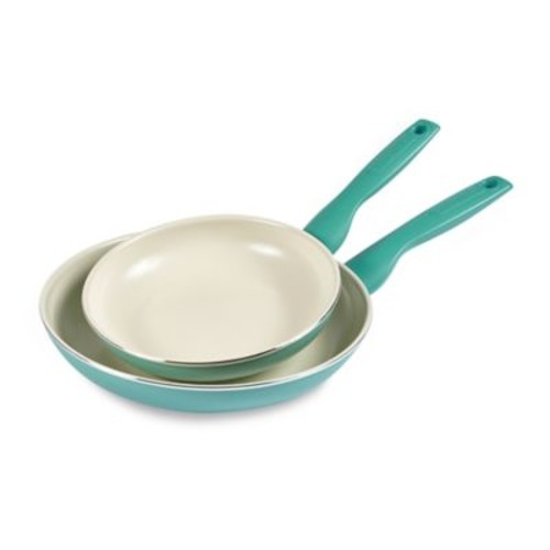 GreenPan Rio Ceramic Nonstick 8-Inch and 11-Inch Fry Pan Set in Turquoise