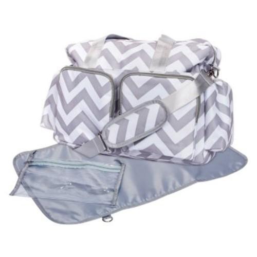 Trend Lab Chevron Deluxe Duffle Diaper Bag - Gray/White