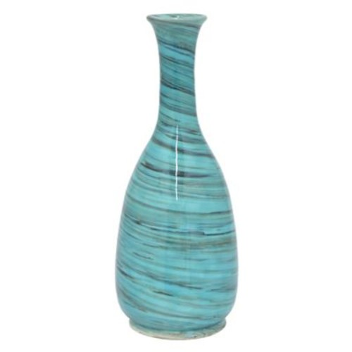 Red Barrel Studio Modern Long Neck Ceramic Table Vase; Turquoise