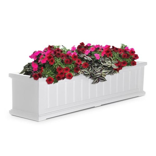 Mayne 11 in. x 48 in. White Cape Cod Window Box