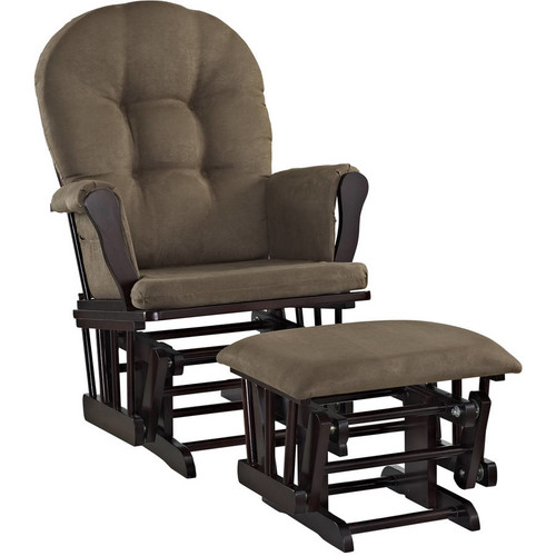 Angel Line Windsor Glider and Ottoman Espresso Finish and Chocolate Cushions